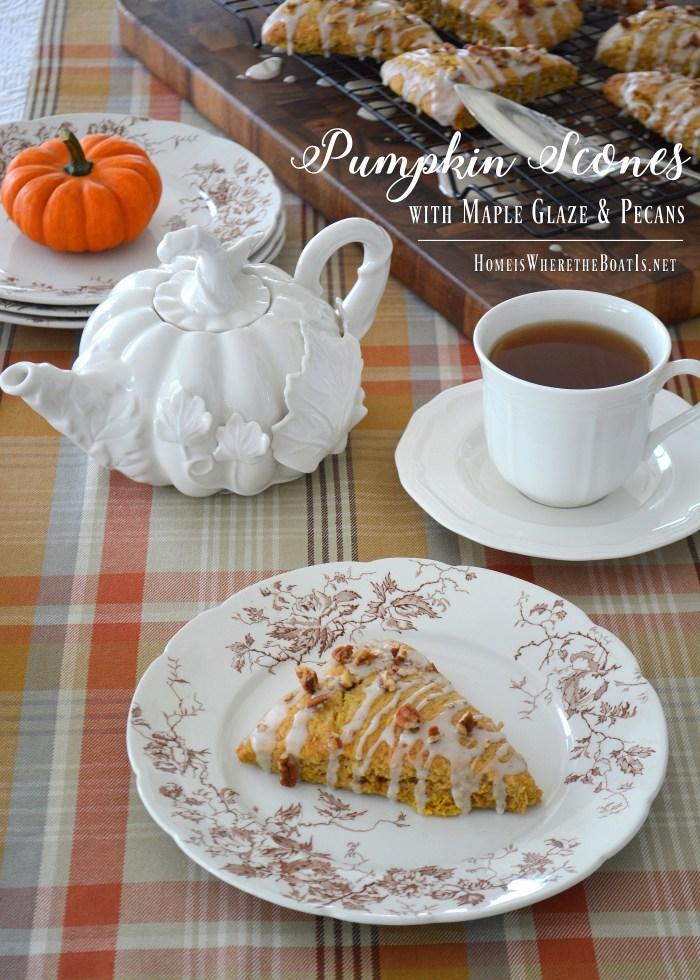 Pumpkin Scones with Maple Glaze and Pecans   homeiswheretheboatis.net #tea #fall #pumpkin #scones #recipe