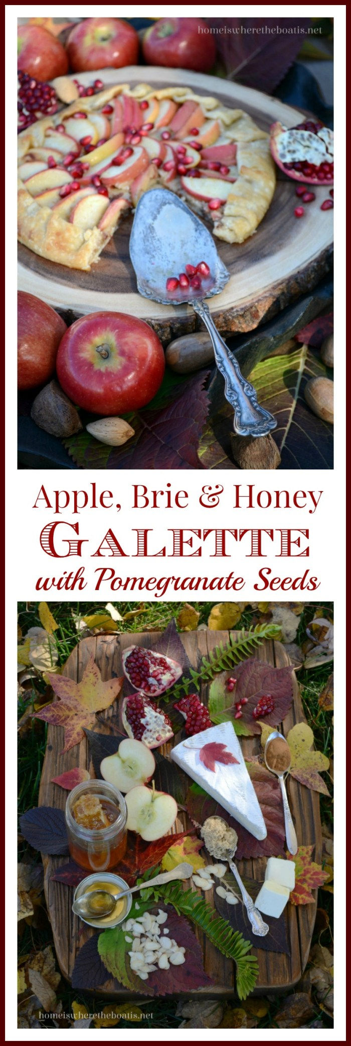 Apple, Brie & Honey Galette with Pomegranate Seeds | homeiswheretheboatis.net #fall #apples #desserts