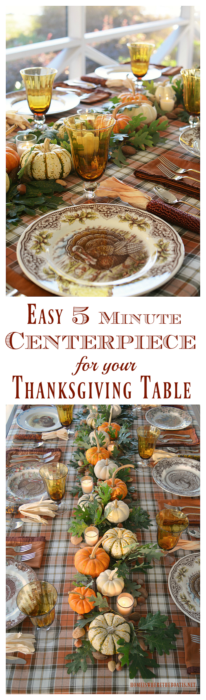 Easy 5 Minute Centerpiece for your Thanksgiving table | ©homeiswheretheboatis.net #Thanksgiving #tablescapes #easy #centerpiece
