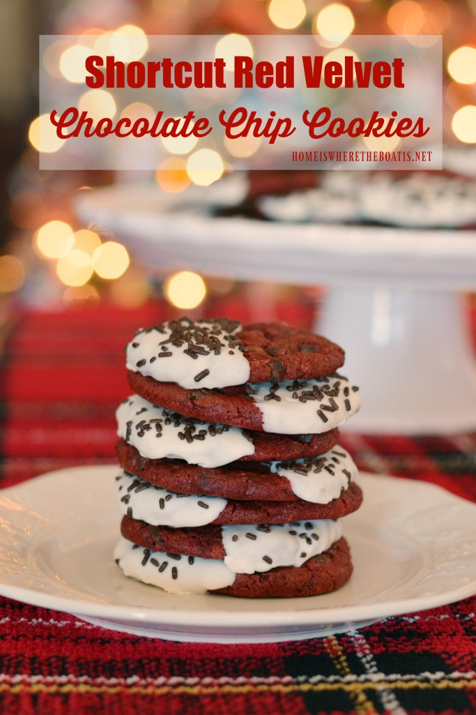 Shortcut Red Velvet-Chocolate Chip Cookies | ©homeiswheretheboatis.net #Christmas #cookies #recipes