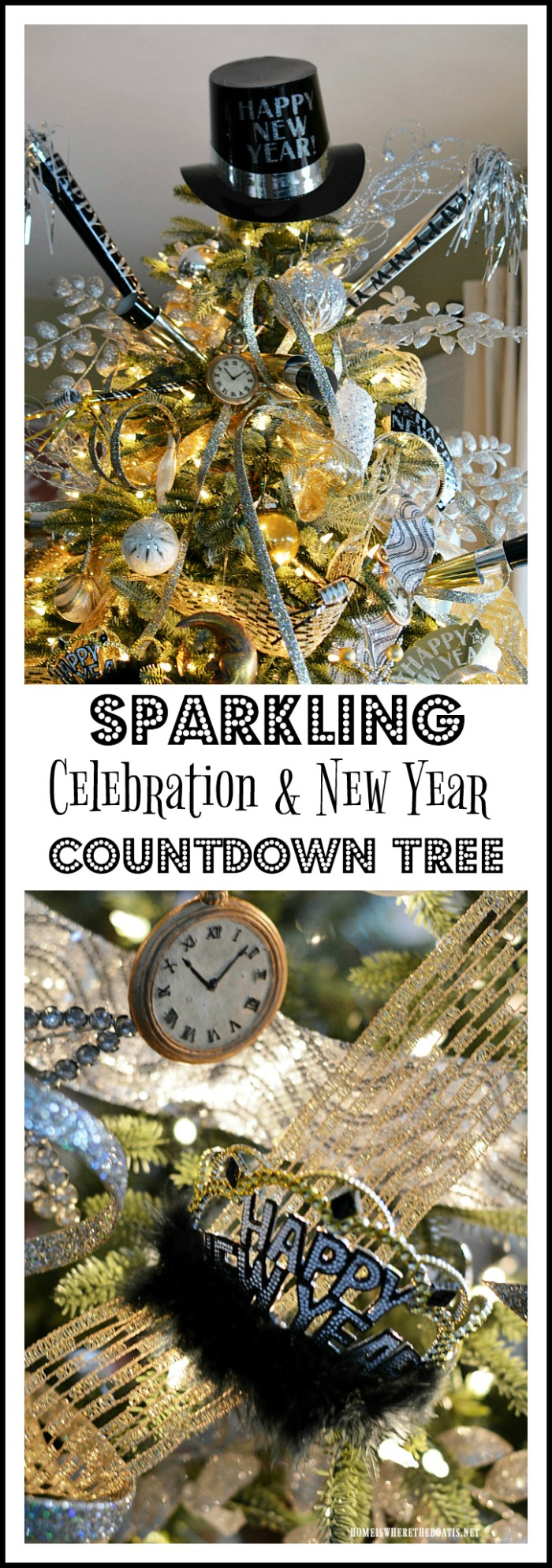Add some New Year's Eve shimmer and sparkle with gold and silver ribbon, streamers, party horns and tiaras to transform the Christmas tree to a New Year's Countdown Tree | homeiswheretheboatis.net #newyear #party #tree
