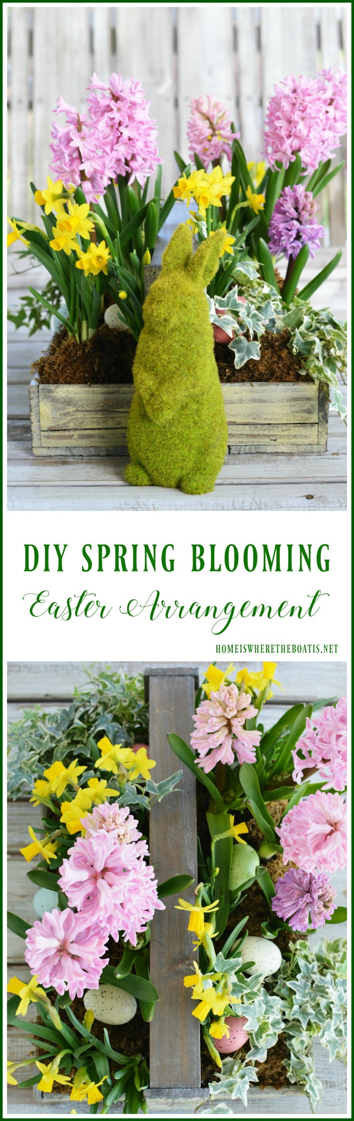 DIY Spring Blooming Easter Arrangement | ©homeiswheretheboatis.net #spring #flowerarrangement #Easter