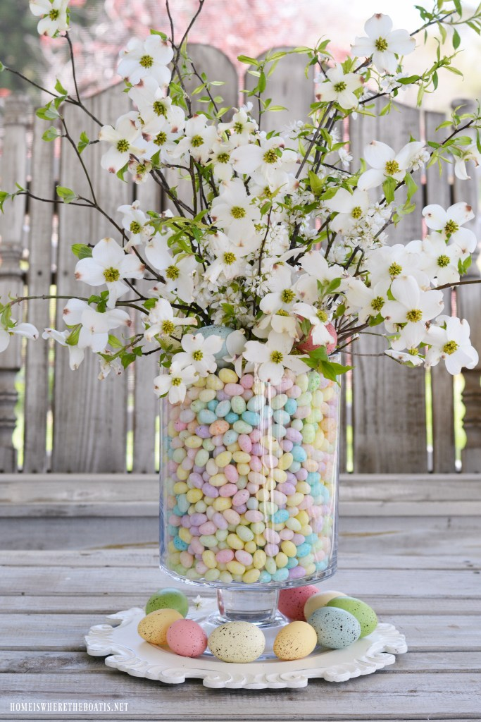 Blooming Branch Centerpiece DIY with dogwood and plum tree blossoms in jelly bean vase | ©homeiswheretheboatis.net