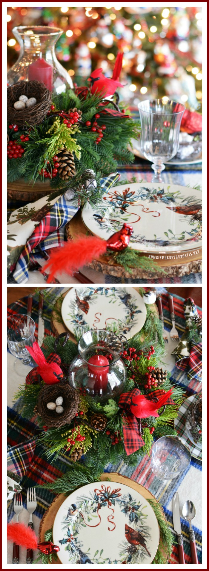 Merry And Bright Christmas Table Centerpiece Inspiration Home Is Where The Boat