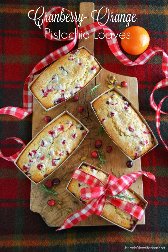Cranberry-Orange-Pistachio Loaves | ©homeiswheretheboatis.net #recipes #foodgift #christmas #baking