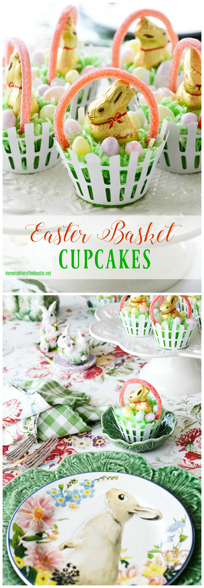 Easter Basket Cupcakes: As Fun To Make As They Are To Eat | ©homeiswheretheboatis.net #easter #cupcakes #recipe