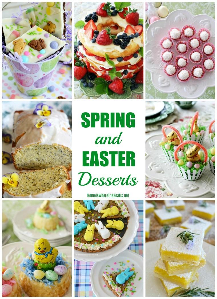 Spring and Easter Desserts | ©homeiswheretheboatis.net #nobake #makeahead #easter #recipes #cake #bars