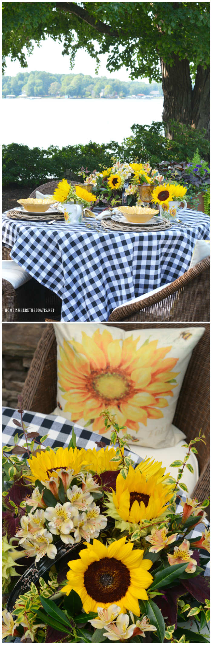 Lakeside Table with Sunflowers and Black and White Check | ©homeiswheretheboatis.net #tablesetting #alfresco #summer #sunflowers #BuffaloCheck