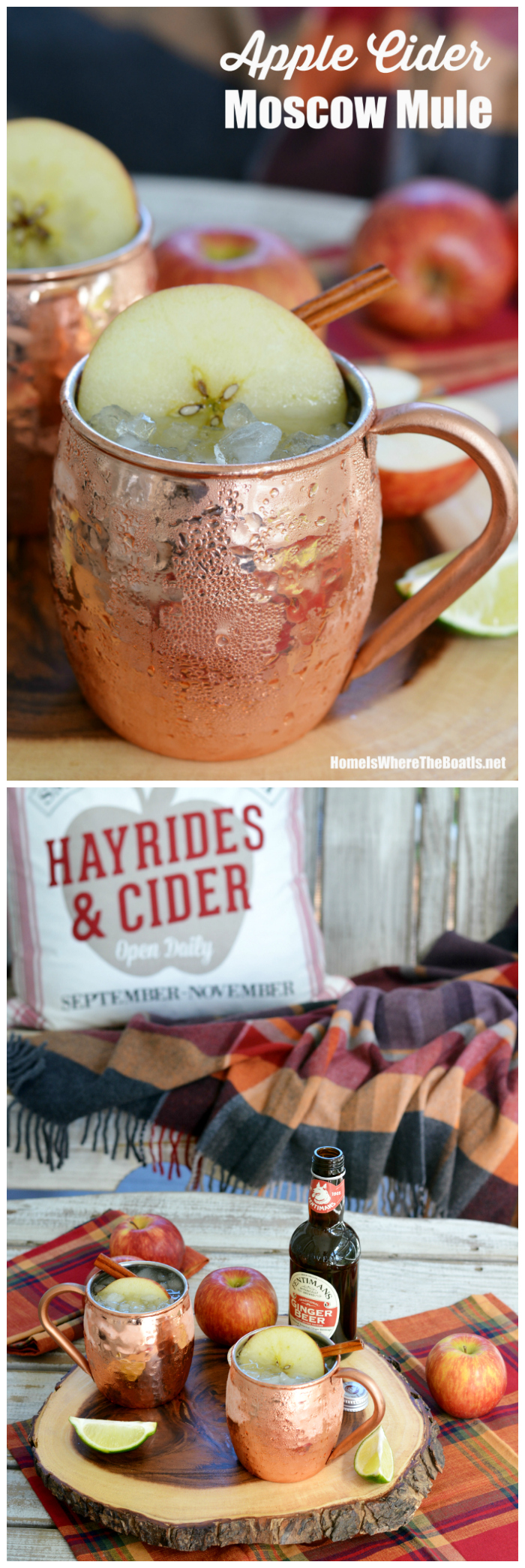 Apple Cider Moscow Mule | ©homeiswheretheboatis.net #fall #cocktail #applecider