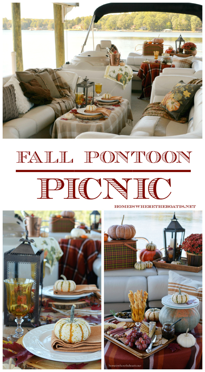 Fall Pontoon Picnic | ©homeiswheretheboatis.net #fall #boat #pontoon #picnic