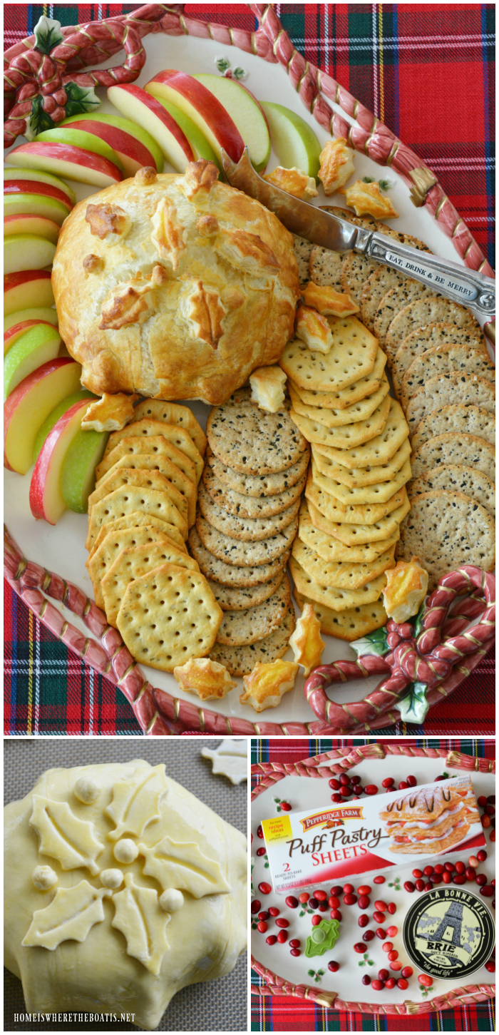 Baked Brie in Puff Pastry with Cranberries! An easy holiday appetizer with a wow factor! | ©homeiswheretheboatis.net #bakedbrie #puffpastry #Christmas #appetizer #cheese