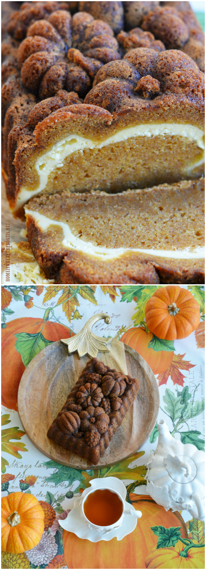 Treat your taste buds to Pumpkin Loaf with Cream Cheese Swirl! A moist, spiced pumpkin cake with a tangy cream cheese layer, perfect for a fall morning, Thanksgiving weekend, or as afternoon treat with a cuppa!   ©homeiswheretheboatis.net #pumpkinspice #cake #Thanksgiving #fall #dessert #tea