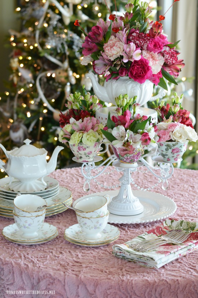 Create an easy tea-themed flower arrangement and centerpiece for Valentine's Day. A perfect way to share some love with your girlfriends with a Valentine's Day Tea Party or to celebrate Galentine's Day!