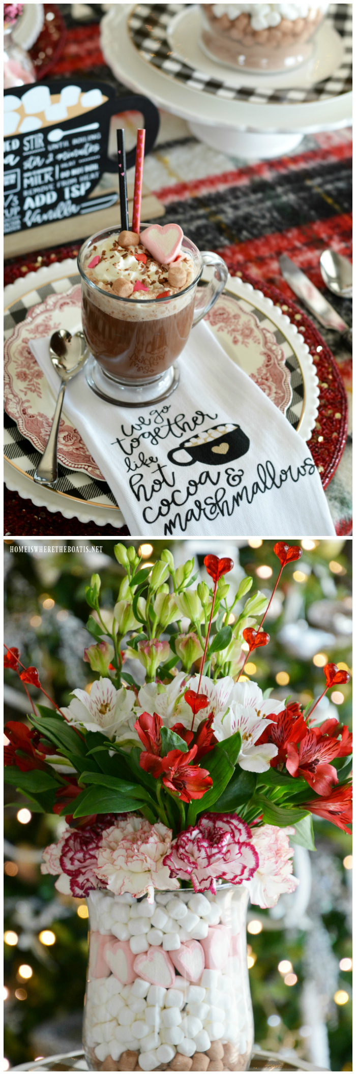 Hot Cocoa & Marshmallows Valentine's Day Tablescape | ©homeiswheretheboatis.net #tablescapes #valentinesday