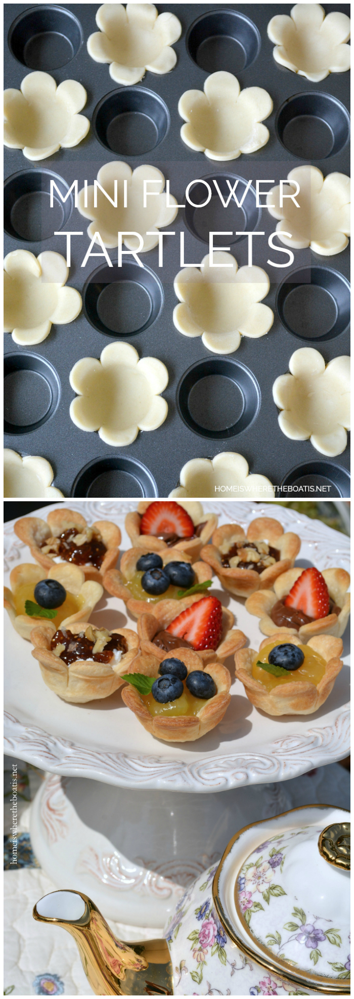 Mini Flower Tartlets   ©homeiswheretheboatis.net #teaparty #recipes