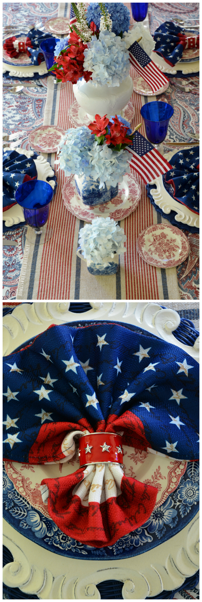 Stars and Stripes with Liberty Blue and red transferware for Independence Day on the porch