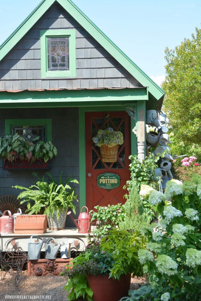 Flowers Around the Potting Shed and July Garden Update | ©homeiswheretheboatis.net #summer #garden #flowers #gardenshed #pottingshed