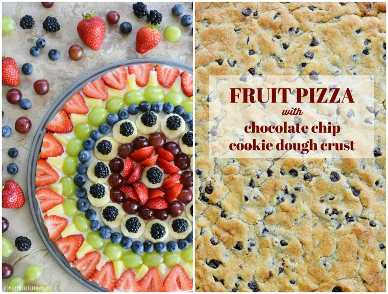 Fruit Pizza with Chocolate Chip Cookie Crust | ©homeiswheretheboatis.net #summer #easy #dessert #fruit