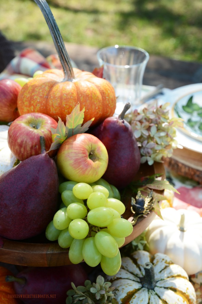 Easy 5-Minute Centerpiece with fall fruit, pumpkins, leaves and dried hydrangeas | ©homeiswheretheboatis.net #tablescapes #fall #fruit #alfresco