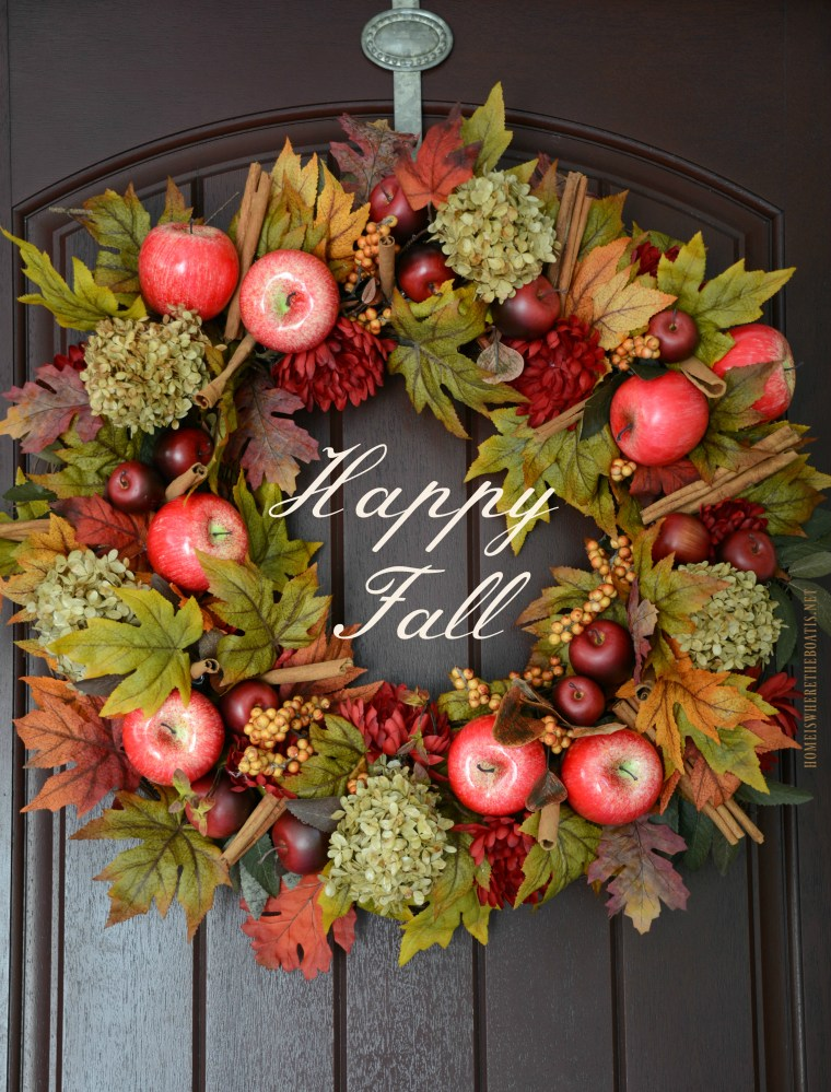 Happy Fall! DIY Apple Spice Wreath | ©homeiswheretheboatis.net #fall #wreath #apples #DIY