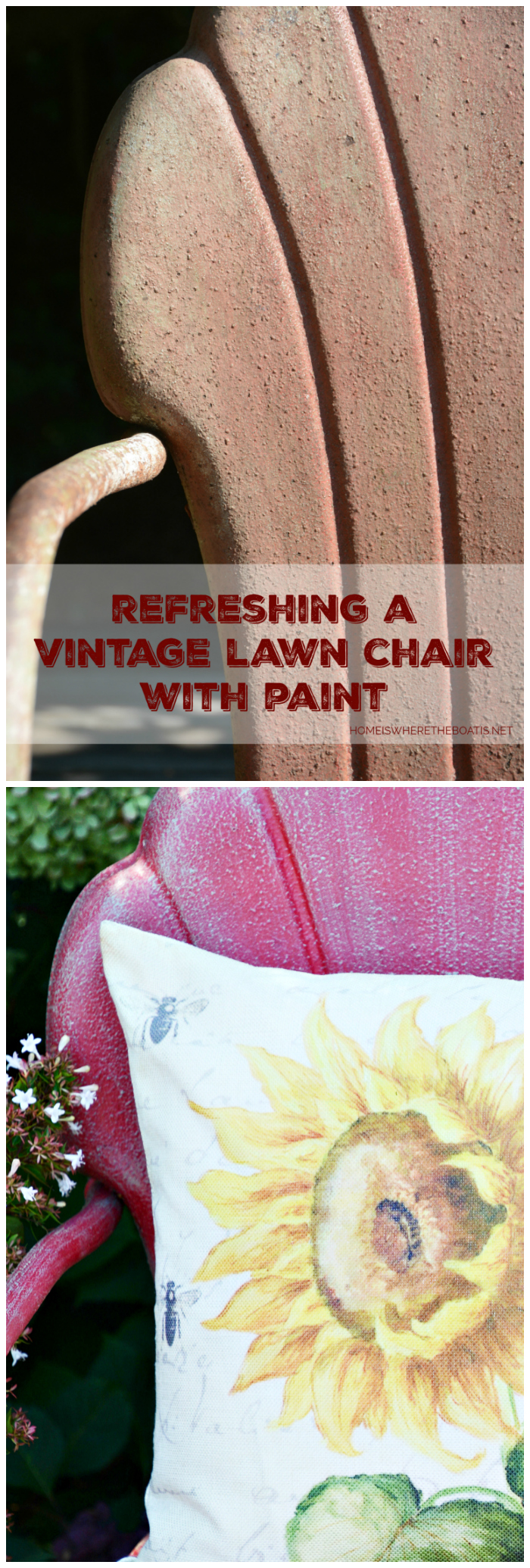 Vintage Lawn Chair Refresh with Paint | ©homeiswheretheboatis.net #chalkpaint #DIY