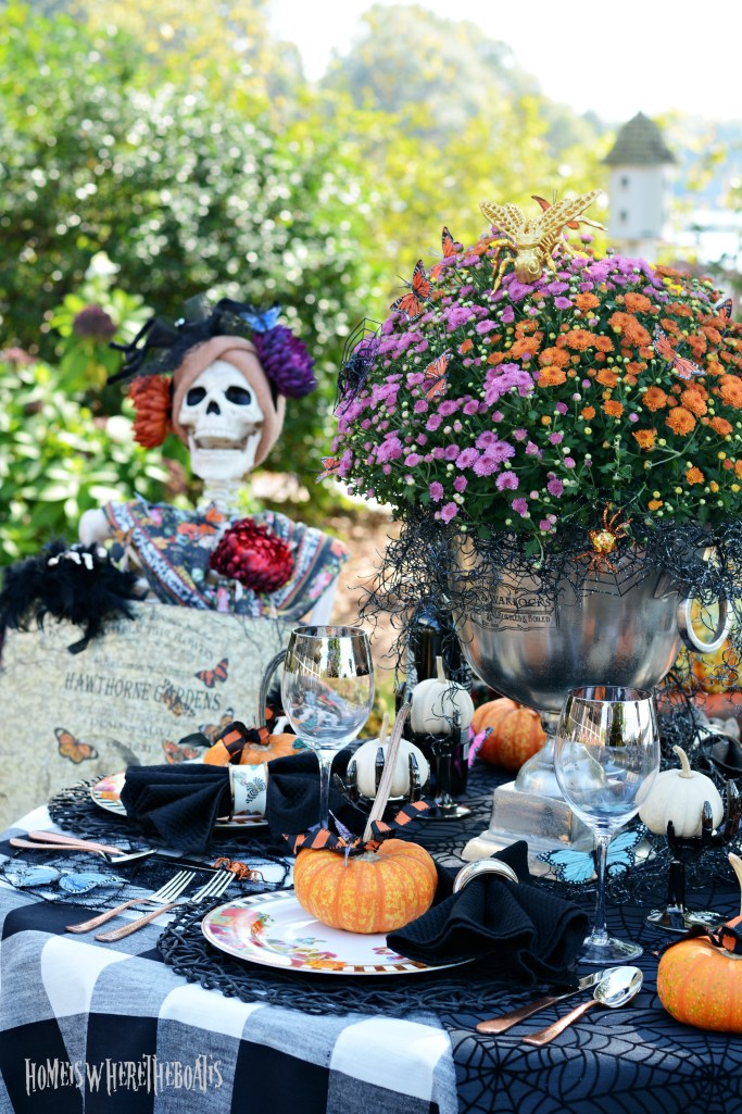 Hawthorne Gardens Wicked Beautiful Flowers Tablescape + Rib Tickling Fun | ©homeiswheretheboatis.net #halloween #tablescapes #skeleton