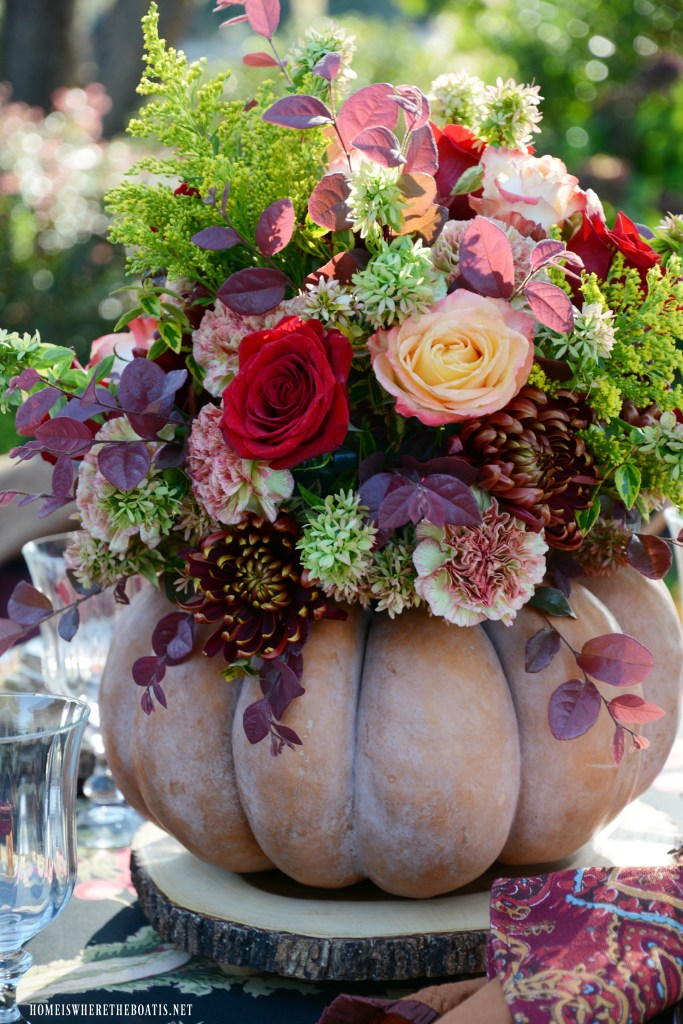 Create a blooming pumpkin as a centerpiece for your fall or Thanksgiving table the easy way~ no cutting required!