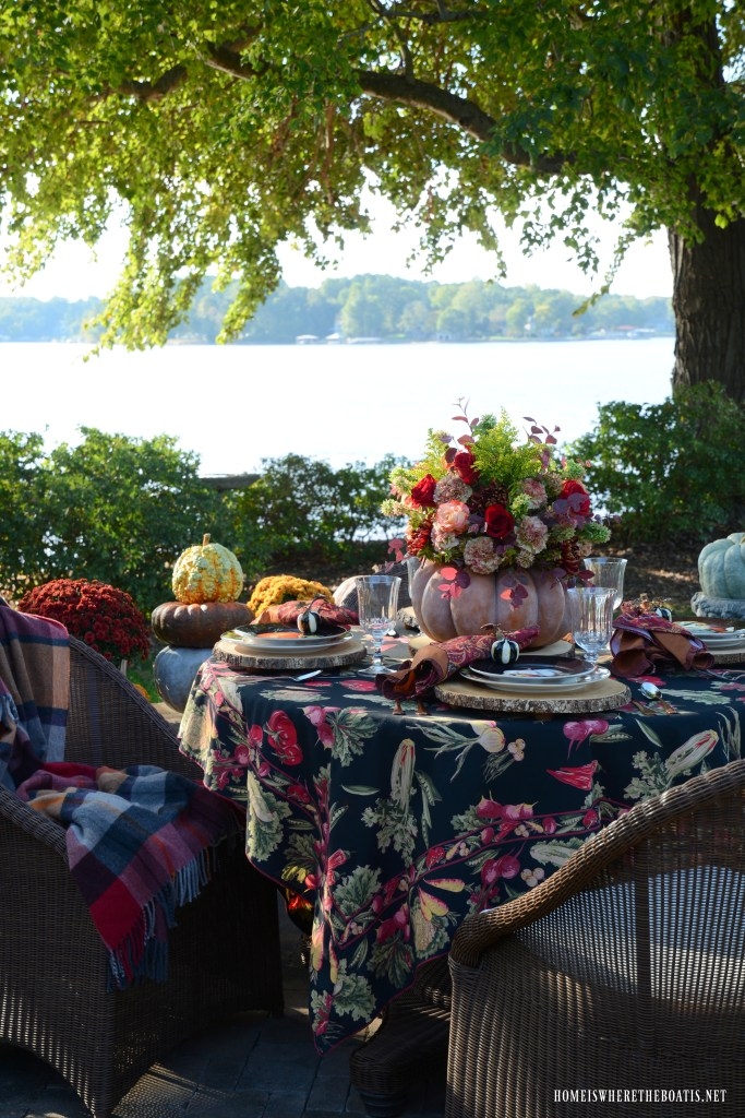 DIY Blooming Pumpkin the EASY Way and Autumn Table | ©homeiswheretheboatis.net #pumpkinvase #flowers #fall #tablescapes #centerpiece #pumpkin