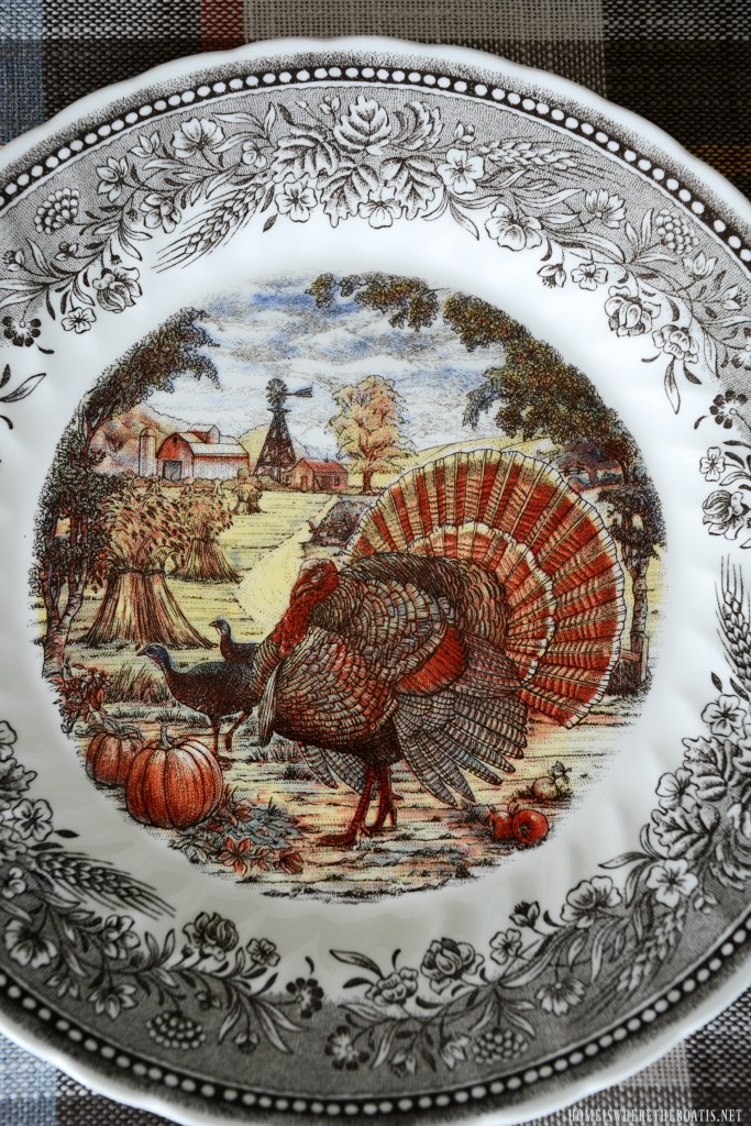 Royal Wessex by Churchill turkey plate | ©homeiswheretheboatis.net #thanksgiving #tablescapes #easy #turkey