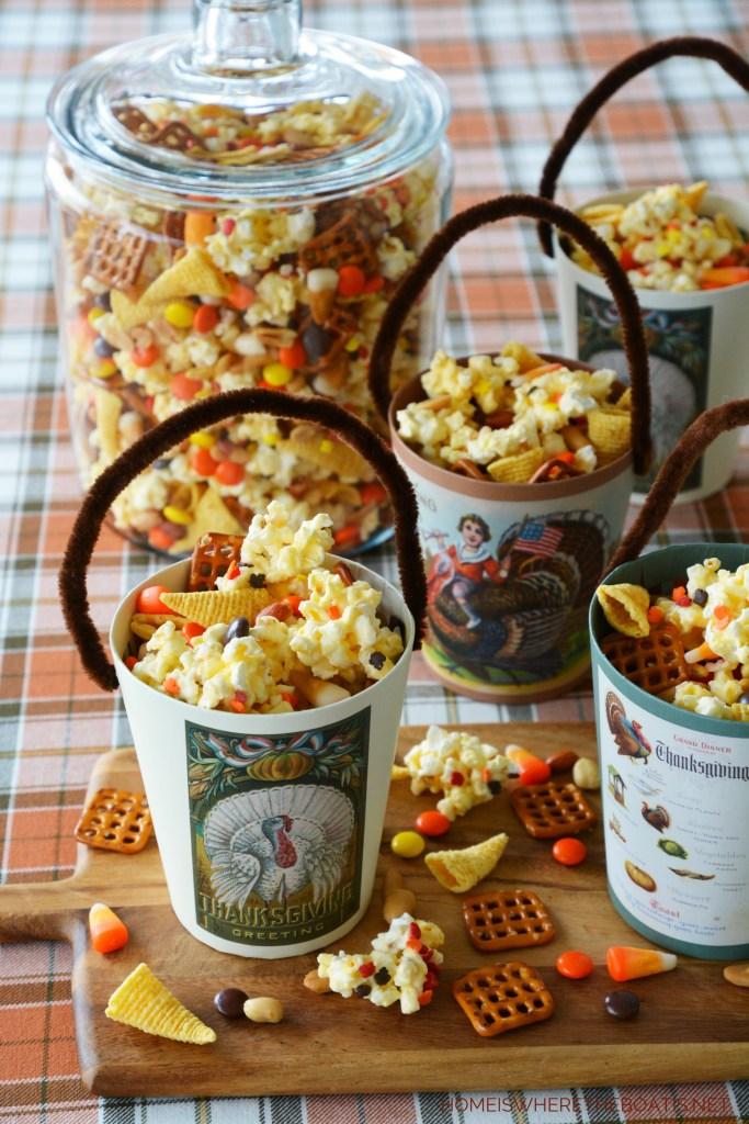 An Easy No-Bake Treat: Cornucopia Popcorn Snack Mix | ©homeiswheretheboatis.net #thanksgiving #popcorn #nobake #treat #recipes