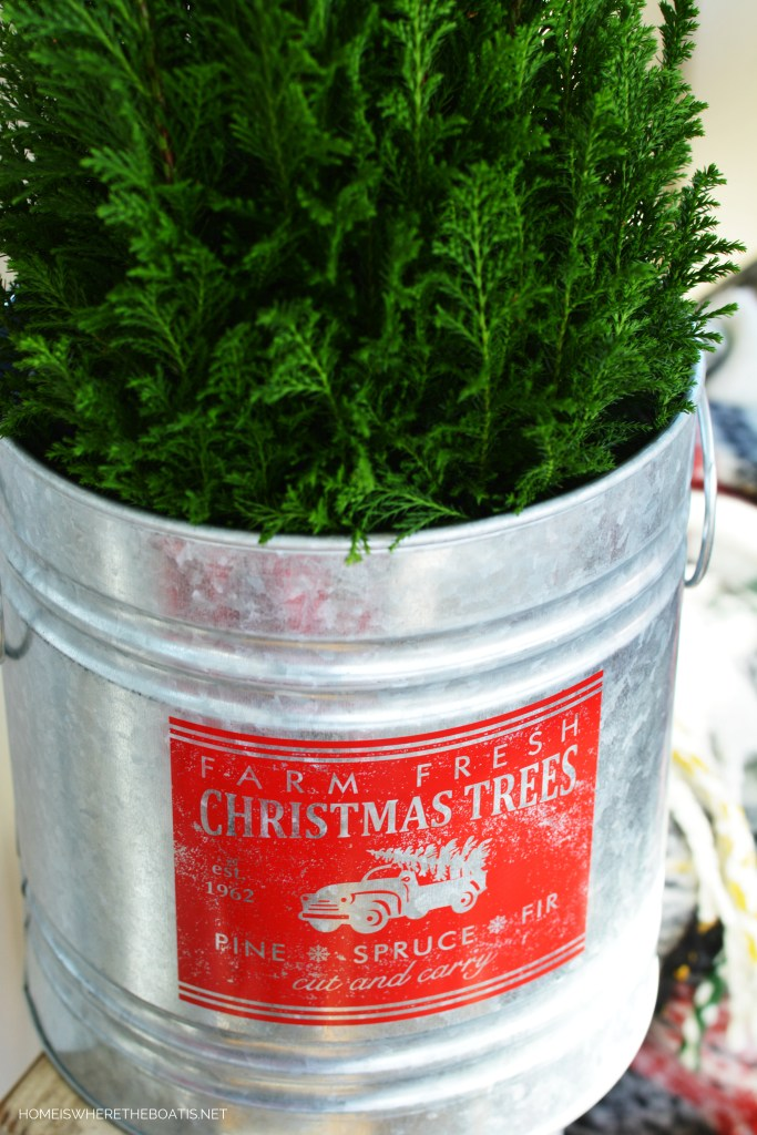 Farm Fresh Christmas Trees bucket with evergreen | ©homeiswheretheboatis.net #christmas