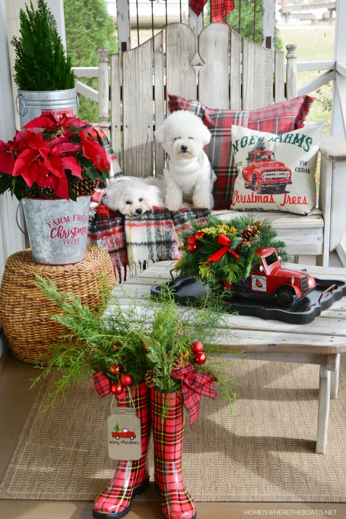 Christmas on the Porch with dogs and truck centerpiece | ©homeiswheretheboatis.net #christmas #truck #porch #dogs