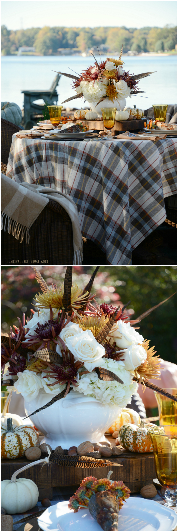 Fall table with plaid, feathers and pumpkins | ©homeiswheretheboatis.net #fall #tablescape #alfresco #flowers #feathers