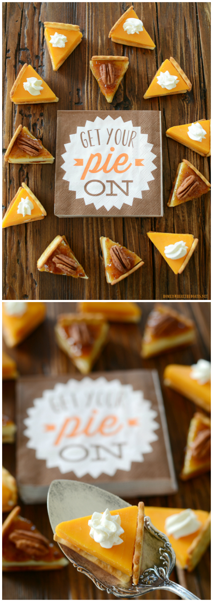 Cheese wedges to mimic Pumpkin and Pecan Pie for Thanksgiving | ©homeiswheretheboatis.net #thanksgiving #friendsgiving #recipes #appetizer #cheese
