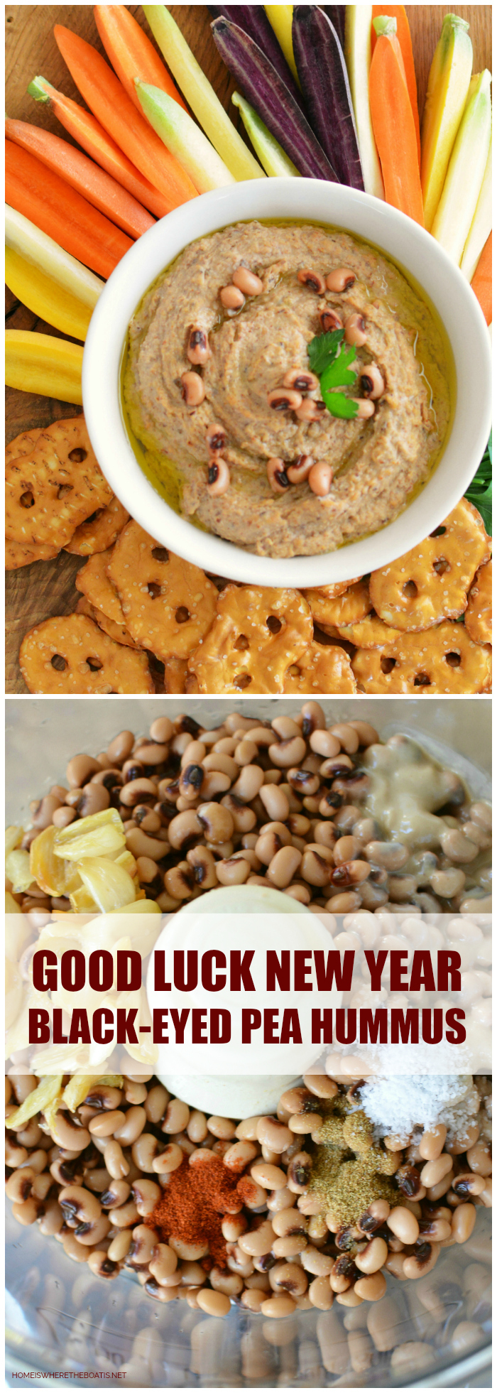 Good Luck New Year Appetizer: Black-Eyed Pea Hummus! This Black-Eyed Pea Hummus is a delicious and healthy way to serve up some good luck for the New Year! #NewYear #goodluckfood #blackeyedpeas #hummus #healthy #appetizer