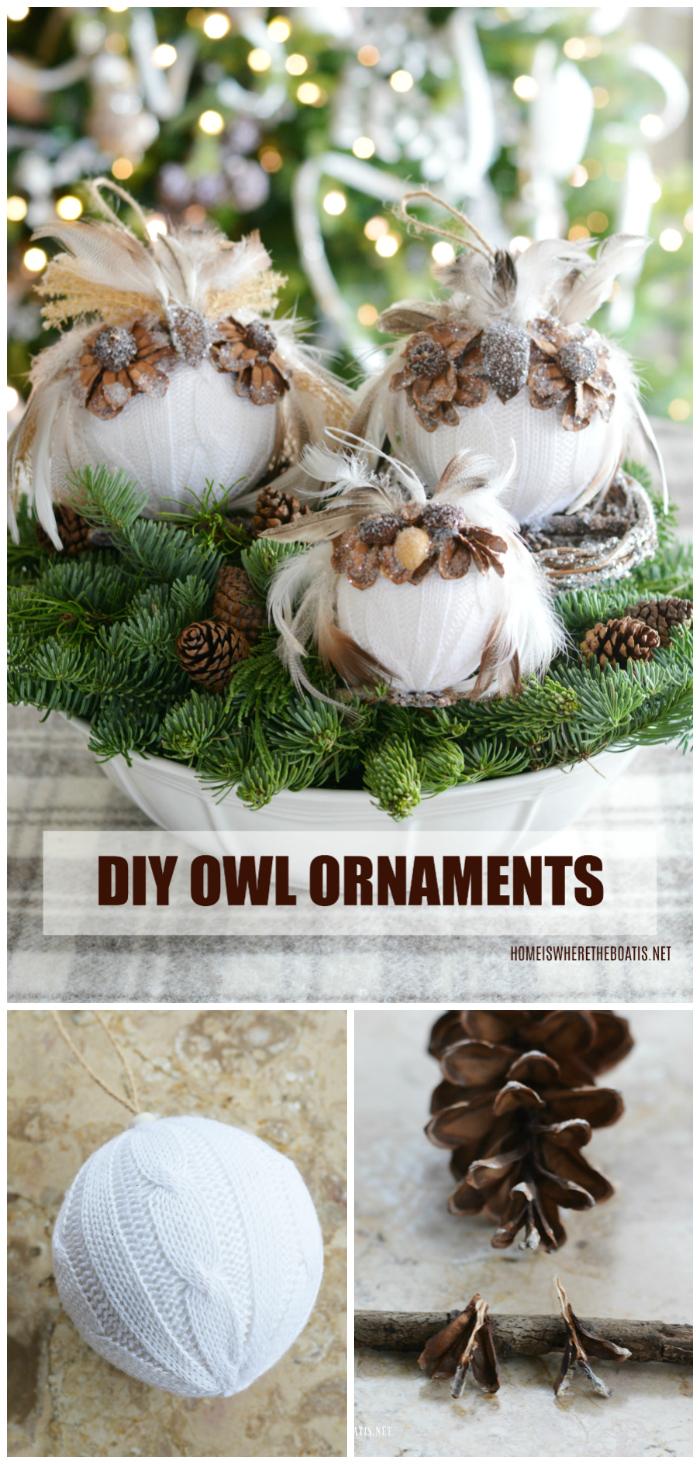 DIY Owl Ornaments: A Hoot to Make! | ©homeiswheretheboatis.net #owl #ornaments #DIY #winter #Christmas