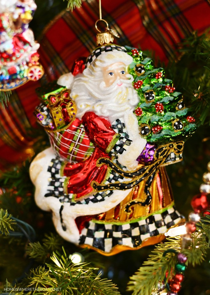 Courtly Check Santa Ornament | ©homeiswheretheboatis.net #Christmas #tree