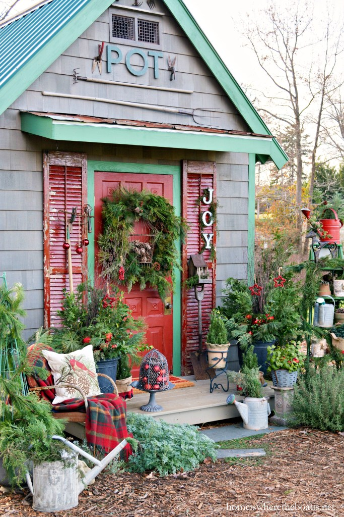 Adding JOY to Potting Shed for Christmas | ©homeiswheretheboatis.net