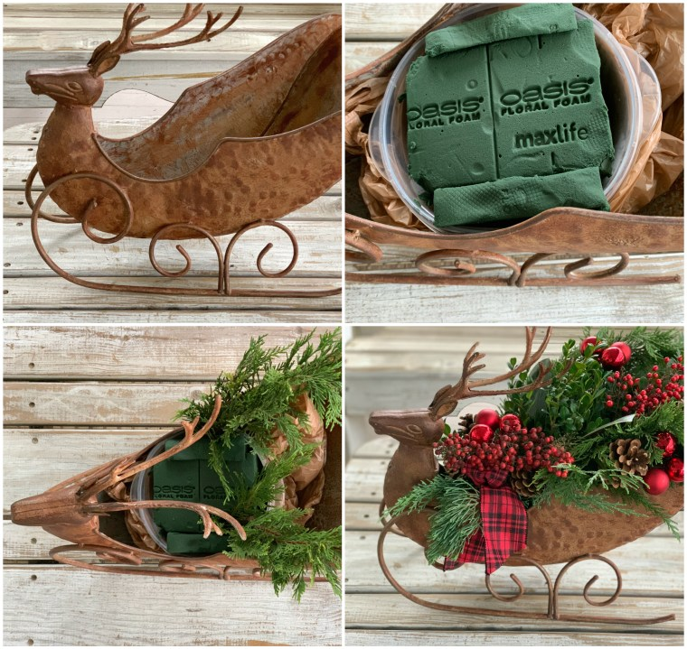 DIY Deer sleigh centerpiece with fresh greenery, berries, ornaments, ribbon | ©homeiswheretheboatis.net #paint
