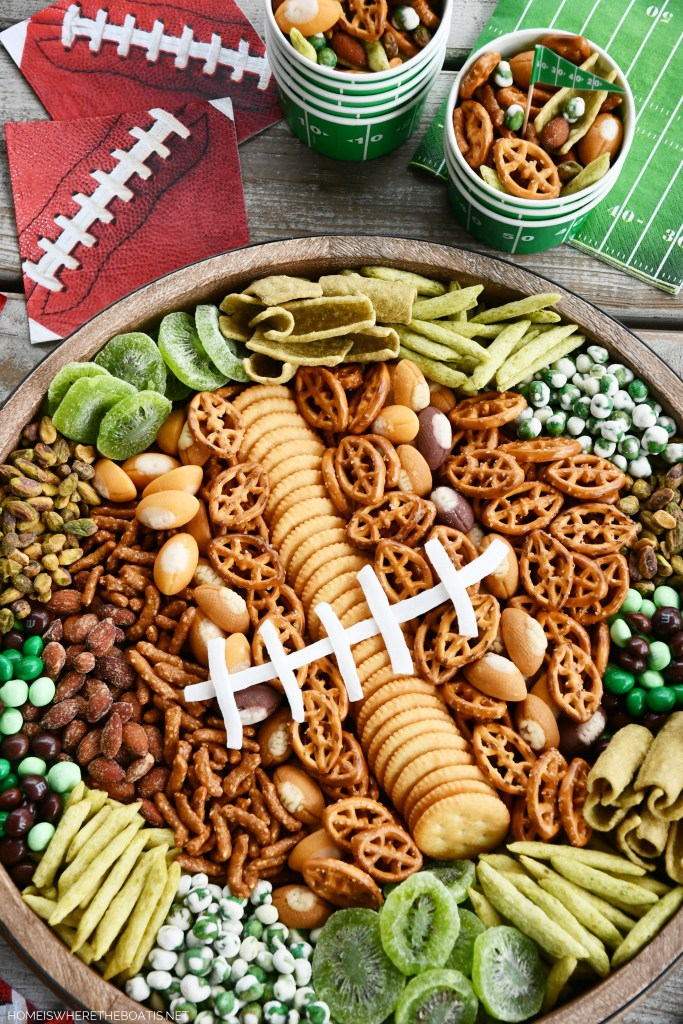Football Snack Board for Game Day | ©homeiswheretheboatis.net #football #food #easy #snacking #superbowl