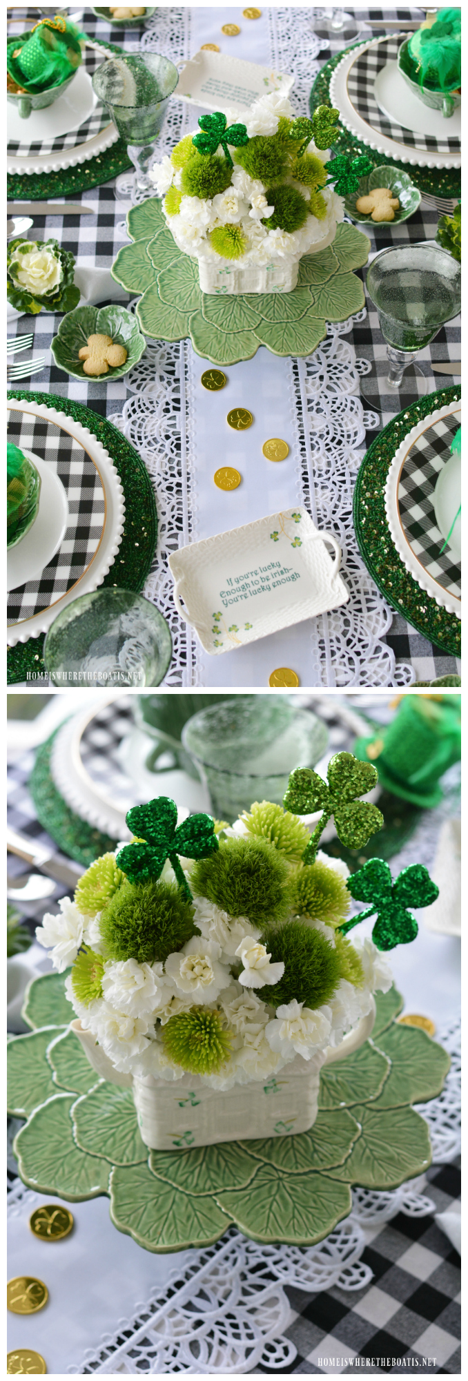 'Hats Off to Leprechauns' for a little folklore and fun in celebration of St. Patrick's Day! Create a table with mini leprechaun hats, edible pots of gold, a Belleck Irish Cottage Teapot flower arrangement and cabbage leaf bowls.
