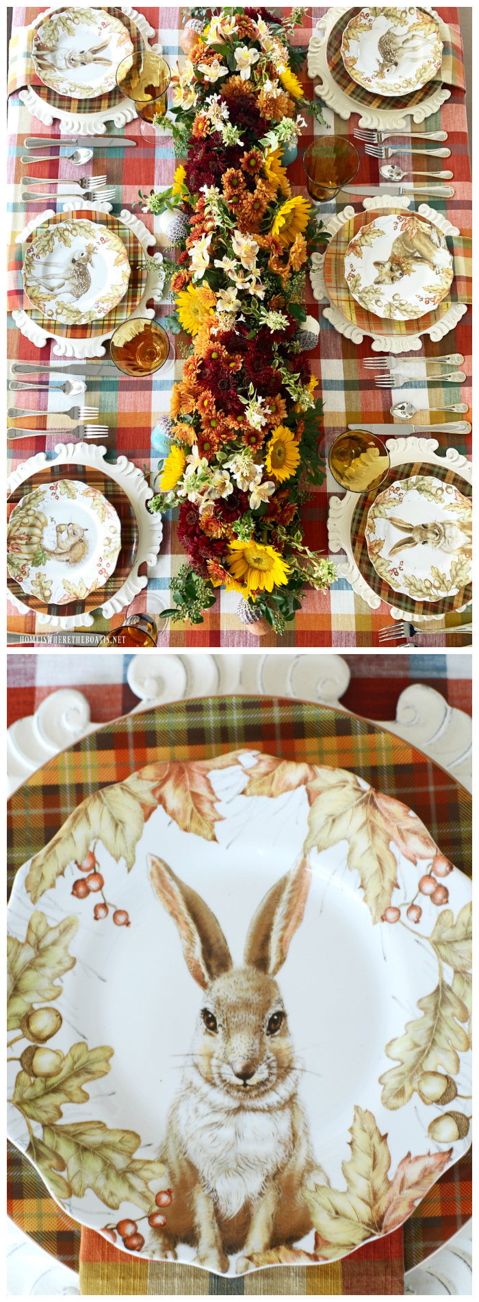 Woodland Friends Fall Table + DIY Floral Runner | ©homeiswheretheboatis.net #fall #tablescapes