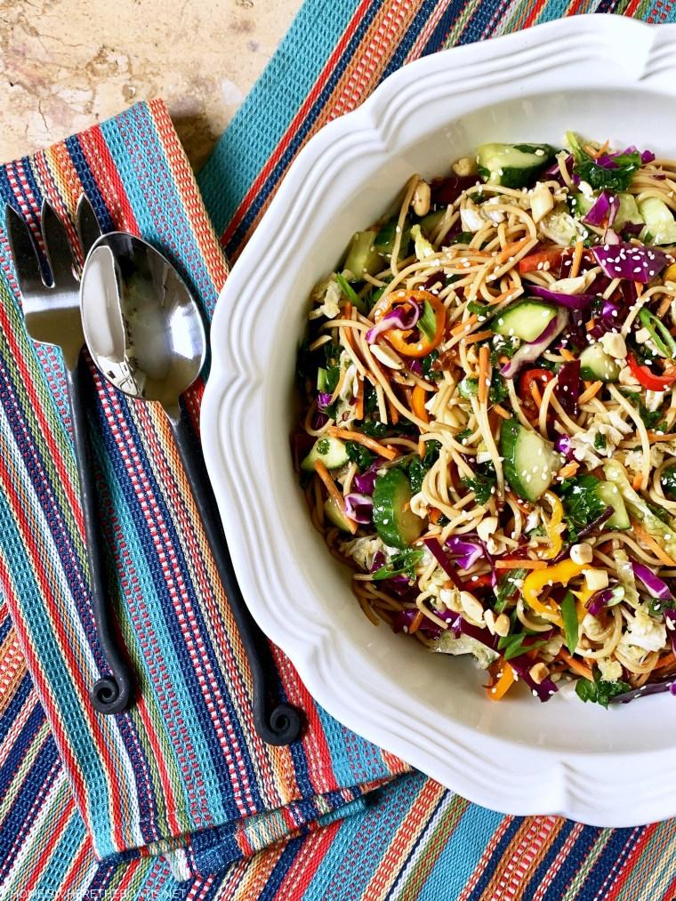 Asian Noodle Salad | ©homeiswheretheboatis.net #noodles #recipe #healthy