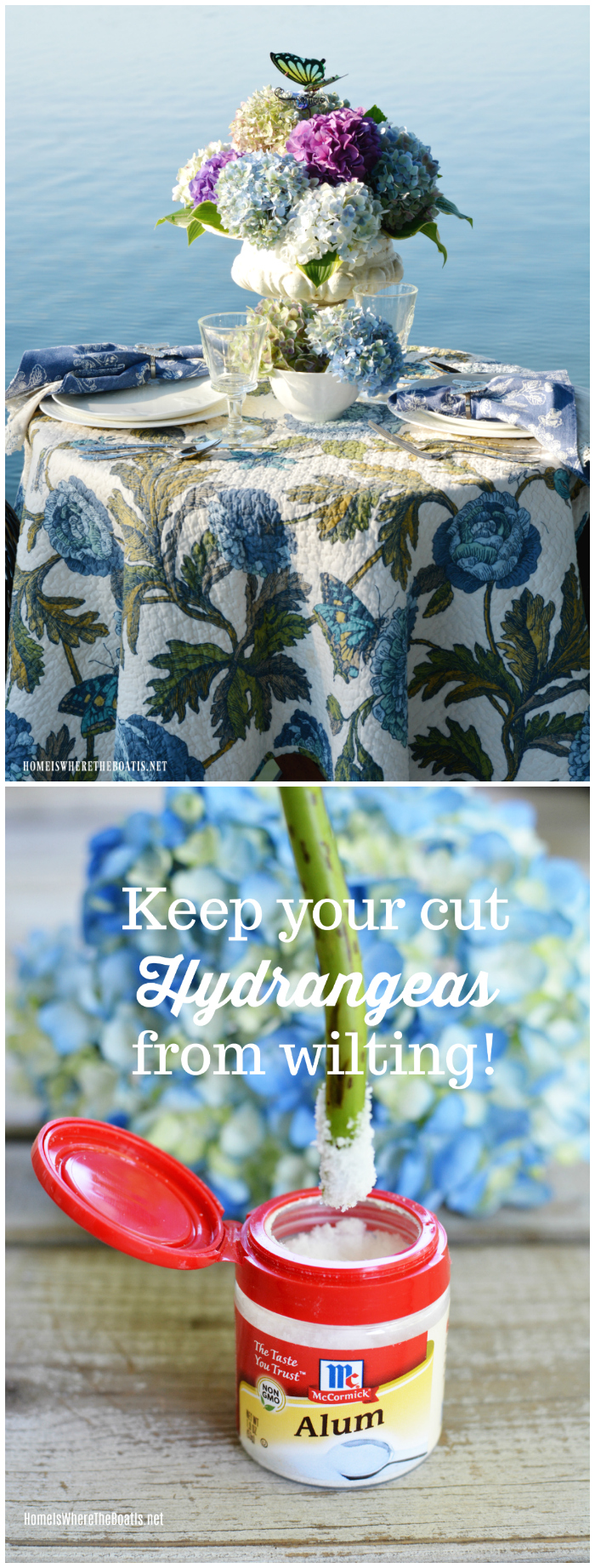 Create a flower arrangement using hydrangeas from the garden and a tip to keep your cut hydrangeas from wilting!