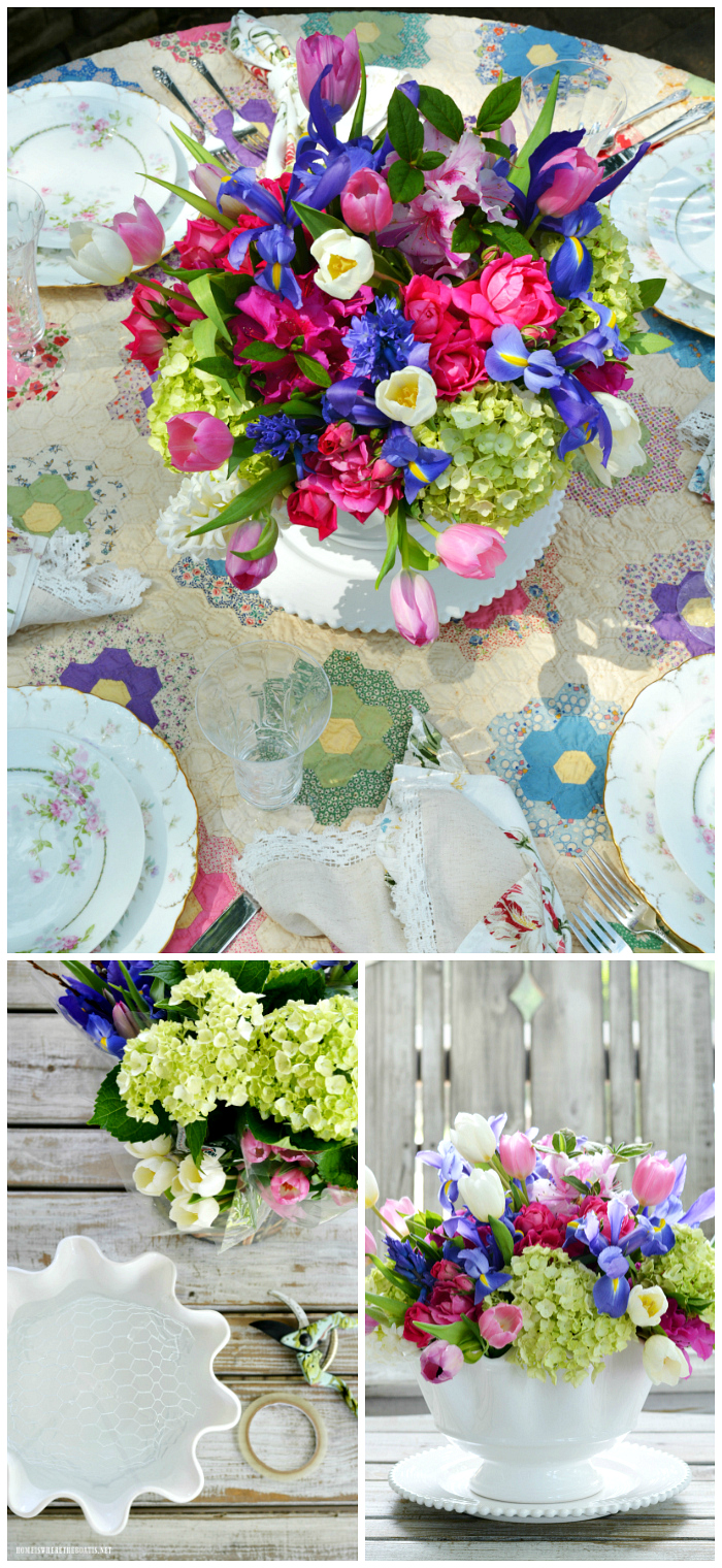 Create a floral centerpiece or bouquet for mom using both grocery store and garden flowers