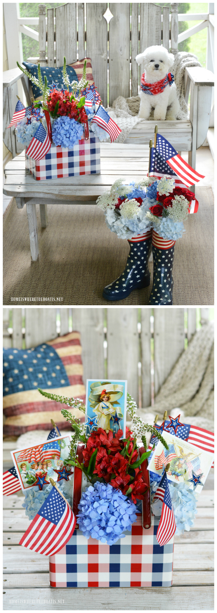 Patriotic porch and arrangement in picnic tin with postcards