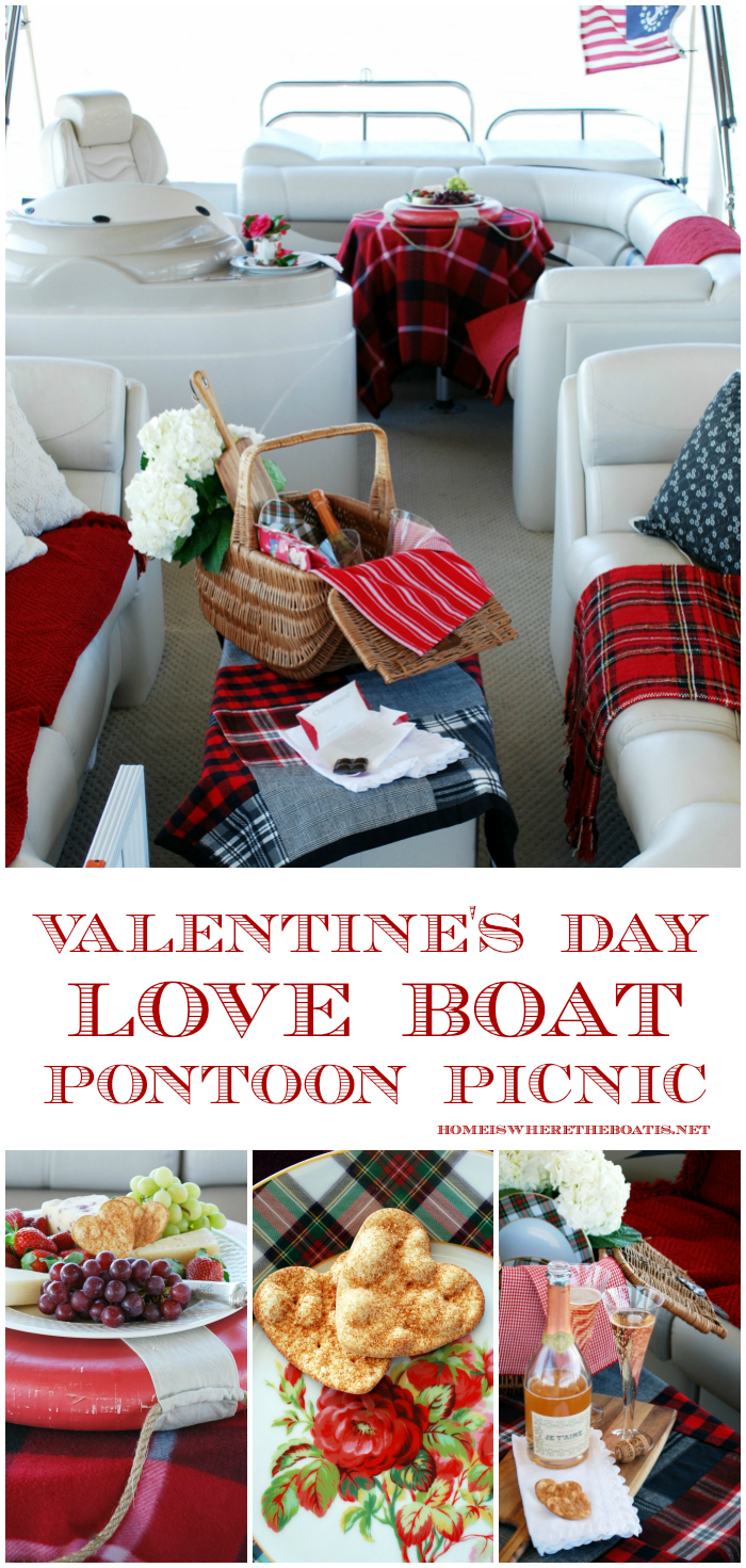 Valentine's Day Love Boat Pontoon Picnic | ©homeiswheretheboatis.net