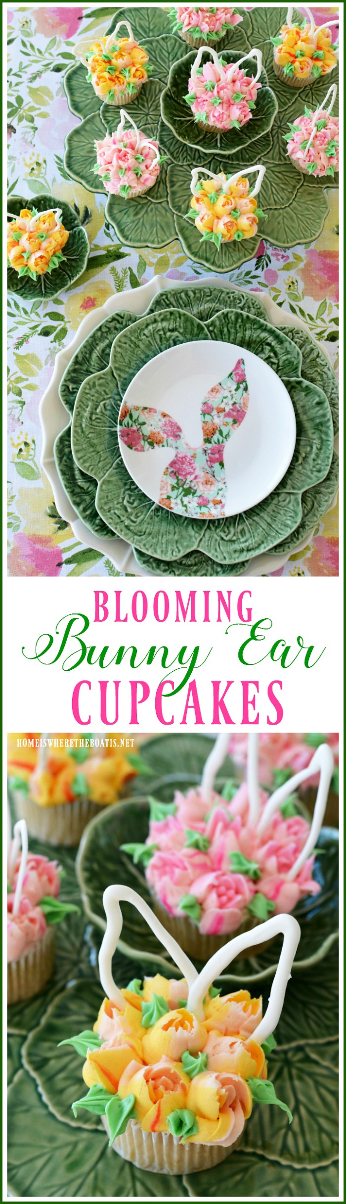 Blooming Bunny Ear Cupcakes | ©homeiswheretheboatis.net #easter #cupcakes #bunny