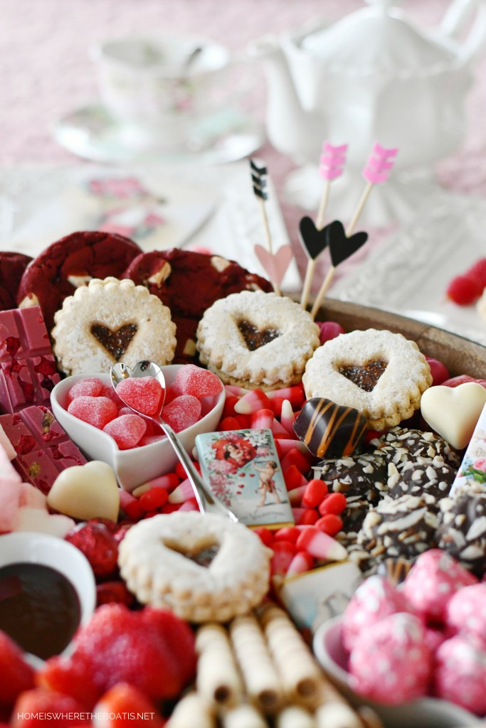 Be Mine Valentine's Day Dessert Board | ©homeiswheretheboatis.net #valentinesday #dessert #board #chocolate