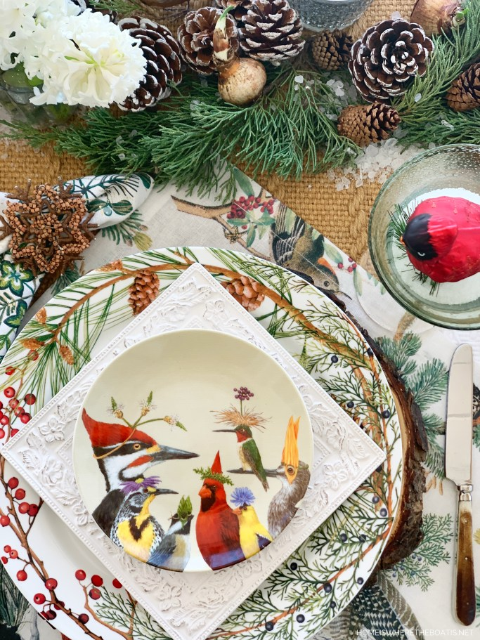 Whimsical 'Cusp of Spring' Table with Forest Friends | ©homeiswheretheboatis.net #winter #tablescapes #birds